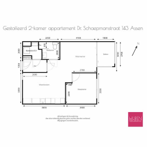 Plattegrond met afmetingen appartement Dr. Schaepemanstraat 143 Assen Mercuriushof 5e etage_V2_lowres